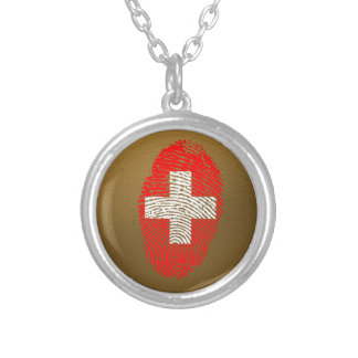 Swiss touch fingerprint flag silver plated necklace