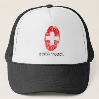 Swiss touch fingerprint flag trucker hat