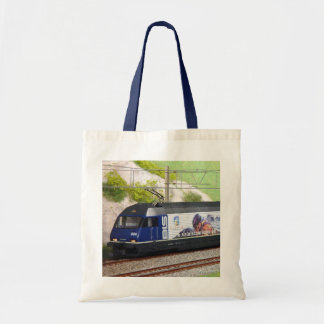 Swiss trains with a picture panel tote bag