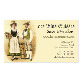 Swiss Wine Growers in Traditional Costume Business Card Template
