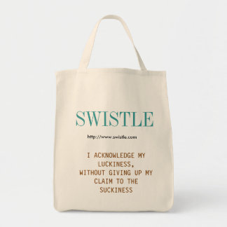 Swistle blog slogan tote, blue-green and brown