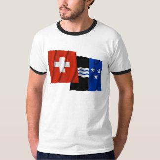 Switzerland & Aargau Waving Flags T-Shirt
