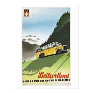 Switzerland Alpine Bus Vintage Travel Postcard