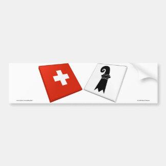 Switzerland and Basel-Stadt Flags Bumper Sticker