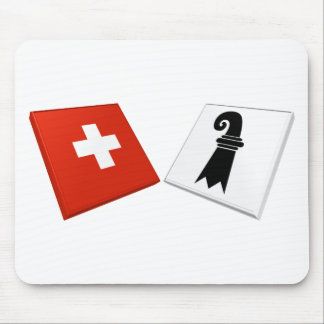 Switzerland and Basel-Stadt Flags Mouse Mat