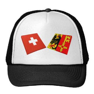 Switzerland and Geneva Flags Mesh Hats