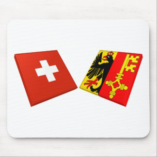 Switzerland and Geneva Flags Mouse Pad