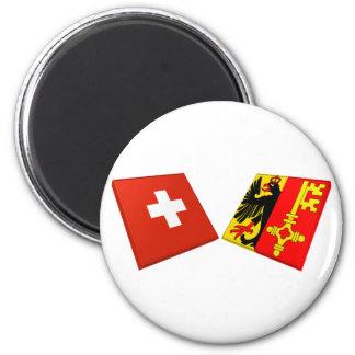 Switzerland and Geneva Flags Refrigerator Magnets
