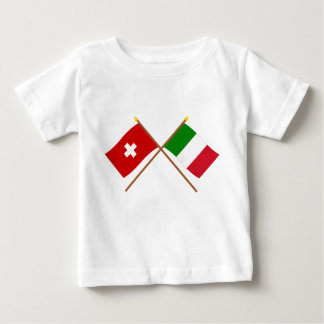 Switzerland and Italy Crossed Flags Baby T-Shirt