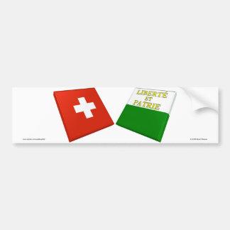 Switzerland and Vaud Flags Bumper Sticker