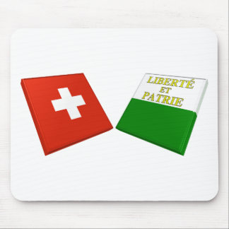 Switzerland and Vaud Flags Mouse Mat
