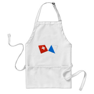 Switzerland and Zurich Flags Adult Apron