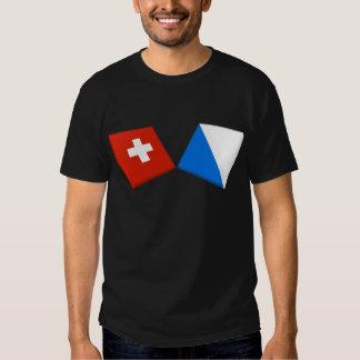 Switzerland and Zurich Flags Tee Shirts