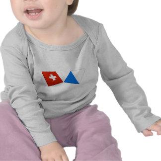 Switzerland and Zurich Flags Tee Shirt