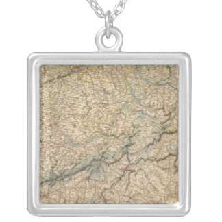 Switzerland Atlas Map 2 Silver Plated Necklace