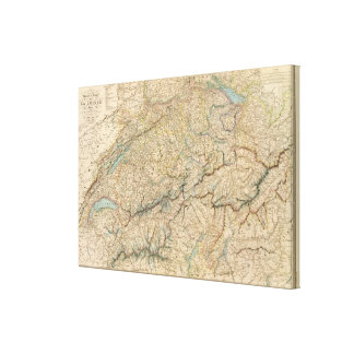Switzerland Atlas Map Canvas Print