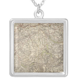 Switzerland Atlas Map Silver Plated Necklace