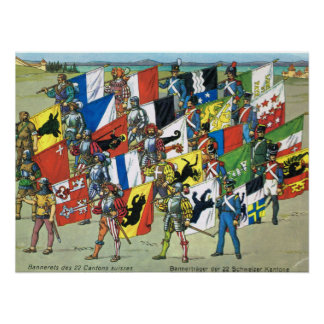 Switzerland,  Banners of the 22 Swiss Cantons Poster