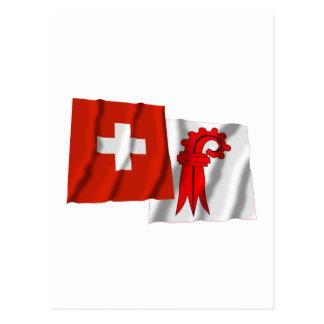 Switzerland & Basel-Landschaft Waving Flags Postcard