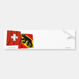 Switzerland & Bern Waving Flags Bumper Sticker