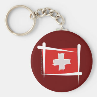 Switzerland Brush Flag Basic Round Button Key Ring