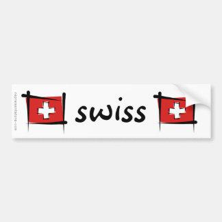 Switzerland Brush Flag Bumper Sticker