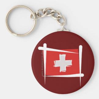 Switzerland Brush Flag Key Ring