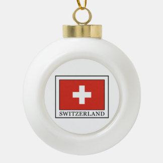 Switzerland Ceramic Ball Christmas Ornament