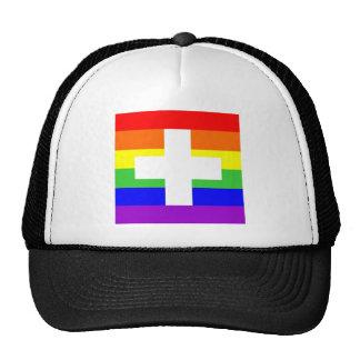 switzerland country gay rainbow flag homosexual trucker hat