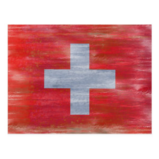Switzerland distressed Swiss flag Postcard