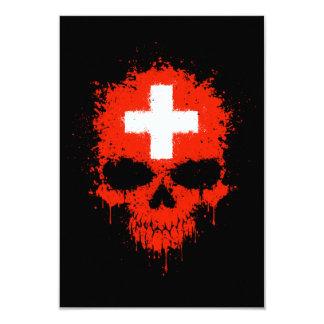 Switzerland Dripping Splatter Skull Custom Invitation