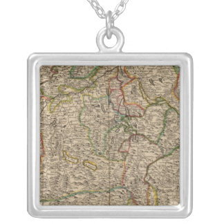 Switzerland engraved map silver plated necklace