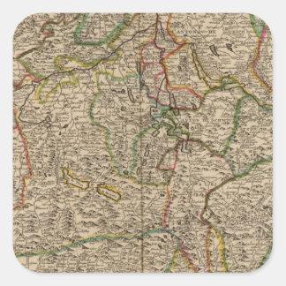 Switzerland engraved map square sticker