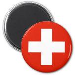 Switzerland flag 6 cm round magnet