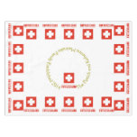 Switzerland Flag and Word Tablecloth