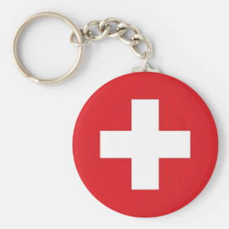 Switzerland Flag Basic Round Button Key Ring