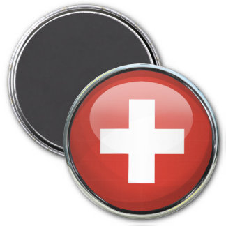 Switzerland Flag Glass Ball 7.5 Cm Round Magnet