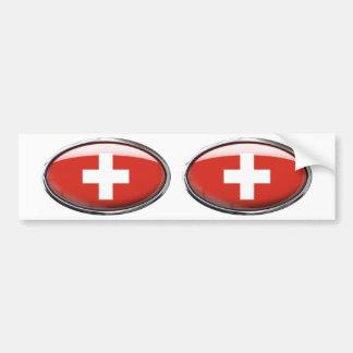 Switzerland Flag Glass Oval Bumper Sticker