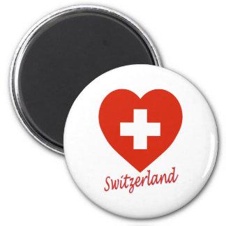 Switzerland Flag Heart 6 Cm Round Magnet