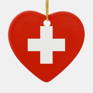 Switzerland Flag Heart Christmas Ornament