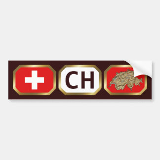 Switzerland Flag Map Code Bumper Sticker