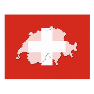 Switzerland flag map outline postcard
