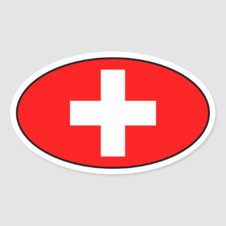 Switzerland Flag Oval Sticker