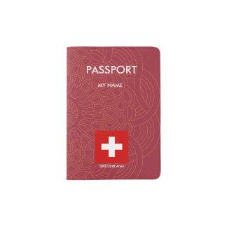 Switzerland flag quality passport holder