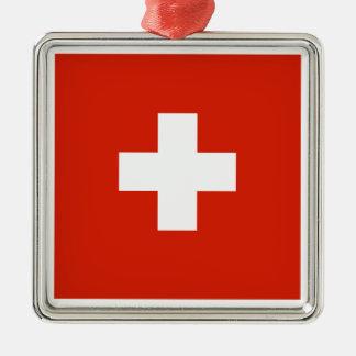 Switzerland Flag Silver-Colored Square Decoration