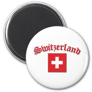 Switzerland Flag (w/inscription) 6 Cm Round Magnet