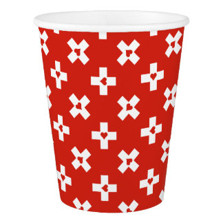 Switzerland Flag with  Heart pattern Paper Cup