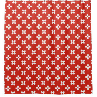 Switzerland Flag with  Heart pattern Shower Curtain