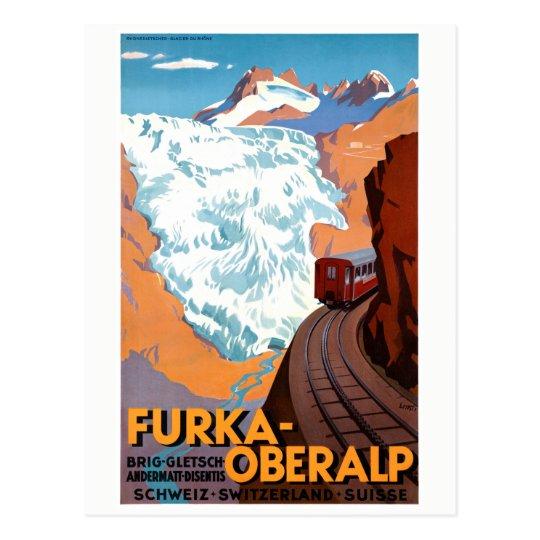 Switzerland Furka Oberalp Vintage Poster Restored Postcard