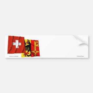 Switzerland & Geneva Waving Flags Car Bumper Sticker
